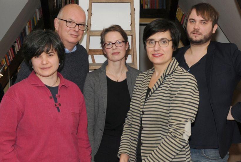 StipentdiatInnen 2016 Anja Großwig (Stipendiatin 2016, Thomas Schäffer, Anja Römisch (Stiftung Kulturregion), Nadine Otto (Gundlach) und Kai Gero Lenke (Stipendiat 2016) © nordmedia, Foto: Hans-J. Schaper