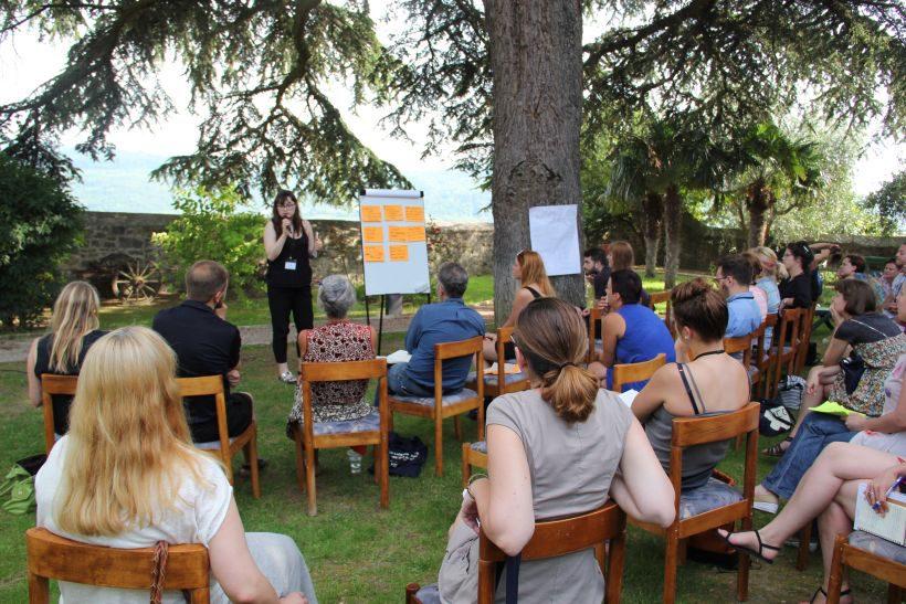 Anna Bogutskaya präsentiert ihre Sponsoring-Kampagne mit anschließendem Feedback von Dagmar Forelle (Head of Sponsorship Berlinale) und Mindaugas Morkūnas (Head of Sponsorship Vilnius Film Festival)