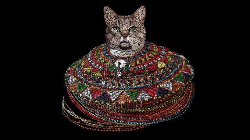 Film Call of Cuteness: Vor schwarzem Hintergrund sehen wir eine gezeichnete Katze, die bis zum Hals in einem bunten Mosaik steckt.