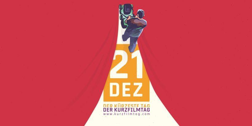 Motiv Kurzfilmtag 2017: ein Mann teilt mir einem Rasenmäher einen roten Vorhang, durch die Öffnung wird die Schrift 21 DEZ - Der Kürzeste Tag - Der Kurzfilmtag sichtbar.