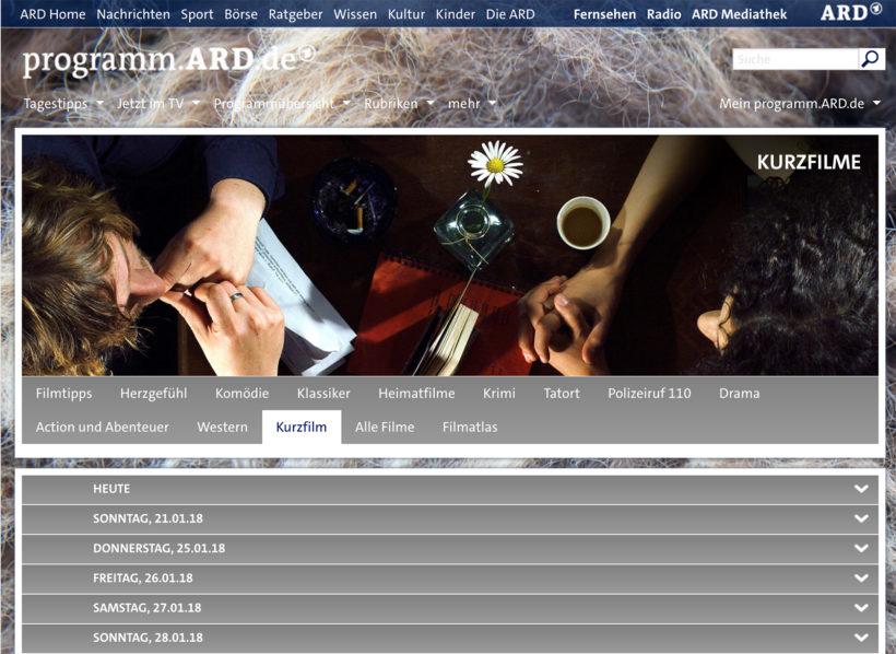 Screenshot von der Webseite der ARD zum Kurzfilmangebot.