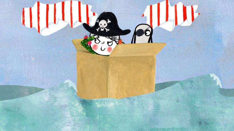 Ein Animationsfilm: auf einem Meer treibt ein Pappkarton, aus dem ein kleiner Pirat und ein Hund mit Augenklappe herausschauen.