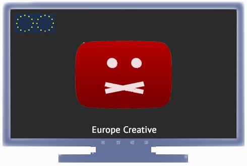 """Ein stilisierter Bildschirm, darauf ein rotes Icon, das anzeigt, dass bestimmter Inhalt nicht angezeigt werden kann. Oben links die Europäische Flagge, unten der Text """"Europe Creative"""""""