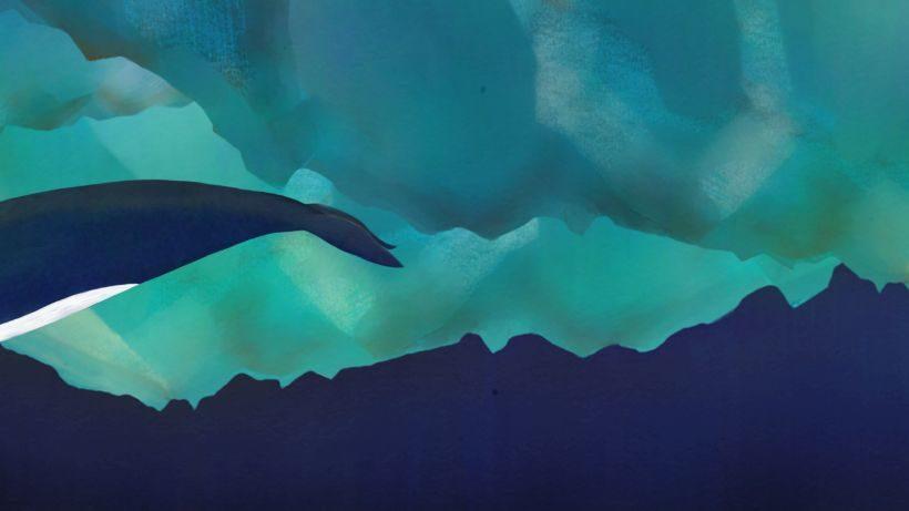 Ein Bild in Blautönen, links ist die Hinterflosse eines Blauwals zu erkennen.