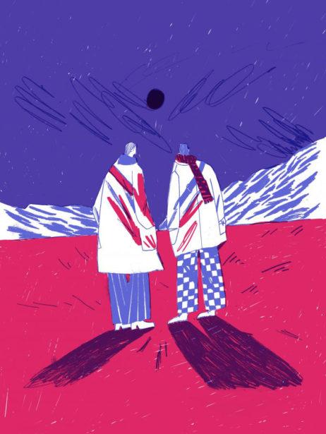 Ein gezeichnetes Bild in den Farben lila, weiß und rot. Zwei Figuren stehen nebeneinander mit dem Rücken zum Betrachter.