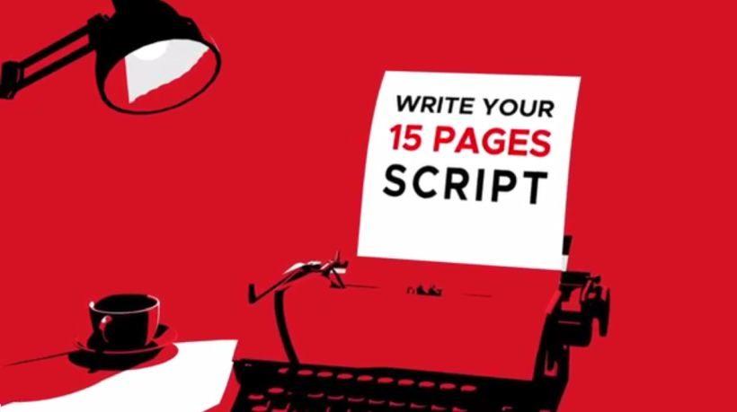 Ein stilisierter Schreibtisch vor rotem Hintergrund, darauf eine Tasse Kaffe, eine Lampe und eine alte mechanische Schreibmaschine, ein Blatt Papier ist eingespannt, darauf steht: Write your 15 pages script.