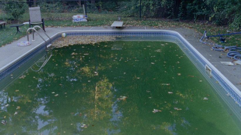 Filmstill OCEAN HILL DRIVE: Im Zentrum des Bildes ein Swimming Pool, Herbstlaub außerhalb und im Pool. Ein paar Gartenmöbel im Hintergrund.