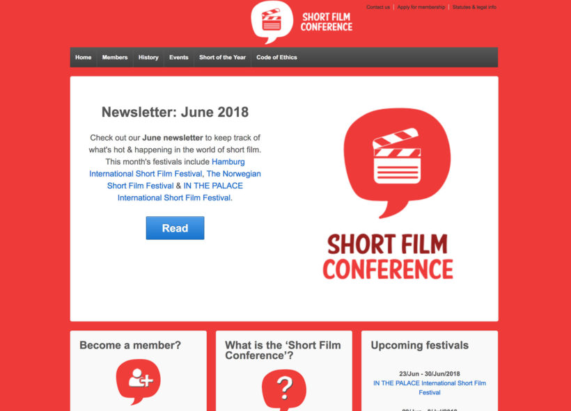 Screenshot der Webseite der Short Film Conference