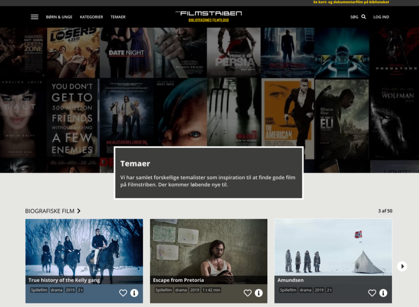 Screenshot: Filmstriben, On-Demand-Dienst der dänischen Bibliotheken