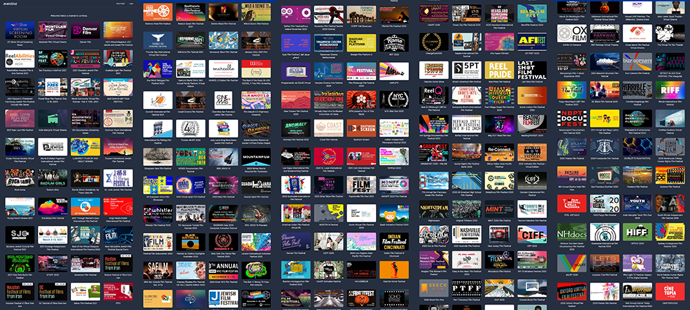VoD offerings by film festivals – screenshot collage of clips from the Eventive platform