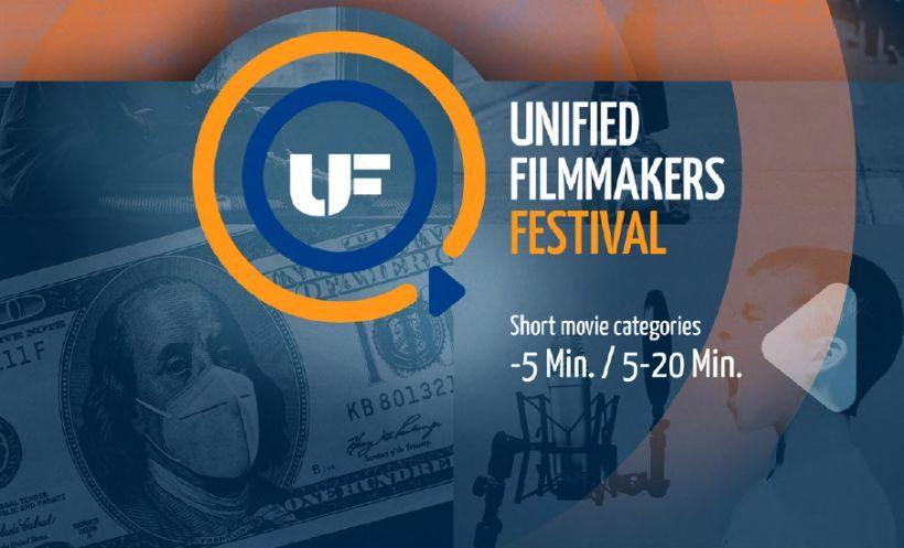 Mofiv Unified Filmmakers Festival - blauer und orangefarbener Kreis, im Hintergrund ein Dollarschein, George Washington mit Mund-Nasen-Schutz